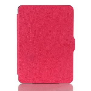 Cross Texture Leather Flip Shell for Amazon New Kindle 2014 - Rose