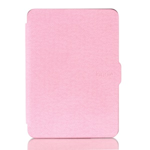 Cross Texture Leather Flip Case Cover for Amazon New Kindle 2014 - Pink
