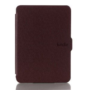 Cross Texture Leather Magnetic Shell Cover for Amazon New Kindle 2014 - Brown