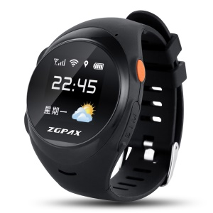 ZGPAX S888 Kids Anziano GPS Tracking Watch Phone SOS Tracking Allarme Anti-Fallimento - Nero
