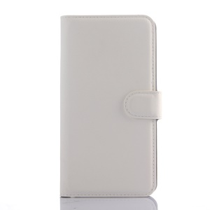Litchi Skin Leather Wallet Cover for Meizu m2 note - White