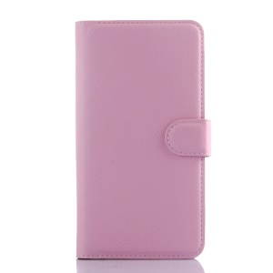 Litchi Skin Wallet Leather Stand Case for Meizu m2 note - Pink