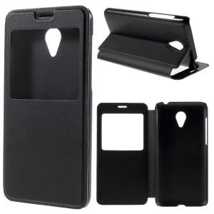 View Window Leather Cover for Meizu Blue Charm M2 with Stand - Black