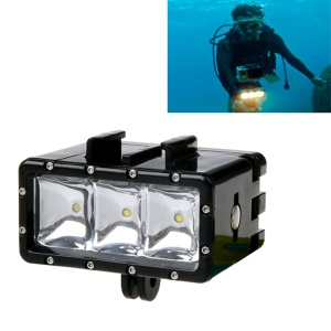 AT682 Waterproof LED Diving Light Fill Spot Lamp with Dual Battery for GoPro Hero6/5/4/4 Session/3+/3/2/1 etc.