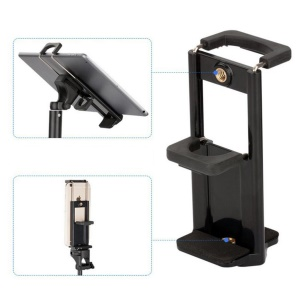 AT779 Universal Cell Phone Tablet Tripod Mount Vertical Bracket Holder Adapter Clamp with 1/4 Screw Hole