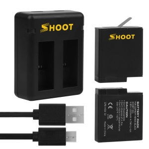 SHOOT XTGP374 2-Pack Rechargeable Batteries + 2-Port USB Charger for GoPro Hero 5/6