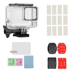 For GoPro Hero7 Silver / White IP70 Waterproof Housing Case + Tempered Glass + Surface Adapters + Anti Fog Inserts Set