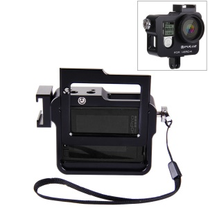 PULUZ PU140 Housing Shell Aluminum Alloy Camera Protective Cage with Frame UV Filter Lens Cap for Gopro HERO4 - Black