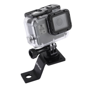 PULUZ PU114 Aluminum Alloy Motorcycle Fixed Holder Mount with Tripod Adapter and Screw for Sports Camera Accessories - Black