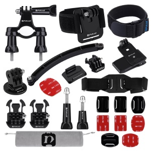 PULUZ PKT19 24 in 1 Bike Helmet Strap Extension Arm Quick Release Buckles Surface Mounts Combo Kit for GoPro