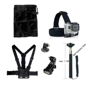 6 in 1 Accessories Kit with Chest Belt, Headstrap, Extendable Self-timer Monopod for GoPro Hero 4/3+/3/2/1 SJ4000/5000/6000/Xiaomi Yi