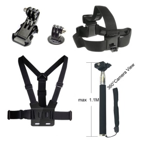 5 in 1 Accessories Kit with Chest Belt, Extendable Self-timer Monopod, Headstrap for GoPro Hero 4/3+/3/2/1 SJ4000/5000/6000/Xiaomi Yi
