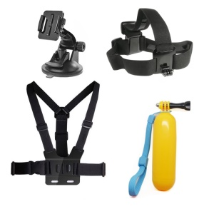 4 in 1 Accessories Kit with Chest Belt, Headstrap, Floating Hand Grip for GoPro Hero 4/3+/3/2/1 SJ4000/5000/6000/Xiaomi Yi