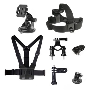 7 in 1 Accessories Kit with Chest Belt, Headstrap, Suction Cup Mount for GoPro Hero 4/3+/3/2/1 SJ4000/5000/6000/Xiaomi Yi