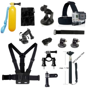 13 in 1 Accessories Kit with Floating Hand Grip, Chest Belt for GoPro Hero 4/3+/3/2/1 SJ4000/5000/6000/Xiaomi Yi