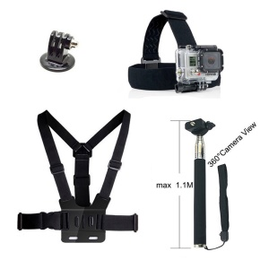 4 in 1 Accessories Kit with Chest Belt, Headstrap, Extendable Self-timer Monopod for GoPro Hero 4/3+/3/2/1 SJ4000/5000/6000/Xiaomi Yi