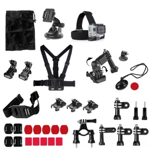 34-in-1 Sports Accessories Kit with Chest Belt, Headstrap, Bicycle Mount for GoPro Hero 4/3+/3 Xiaomi Yi
