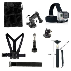 AT203 8-in-1 Gopro Accessories Kit with Chest Belt, Headstrap and Monopod for GoPro HERO 4 3+ 3 2 1 Xiaomi Yi
