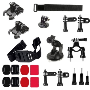 AT216 22-en-1 Kit de accesorios con casco Correa de muñeca para GoPro Hero / 4/3+/3/2/1 Etc