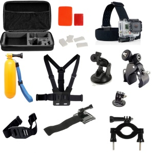 24 in 1 Accessories Kit with Chest Belt, Headstrap, Floating Hand Grip for GoPro Hero 4/3+/3/2/1 SJ4000/5000/6000/Xiaomi Yi