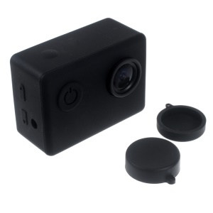 Silicone Gel Protective Case for SJCAM SJ4000 / SJ5000 Sport Camera with Lens Cover - Black