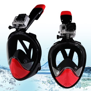 180-degree Full Face Snorkel Mask for GoPro Xiaomi Yi Camera Diving Set - Black/Red / L/XL