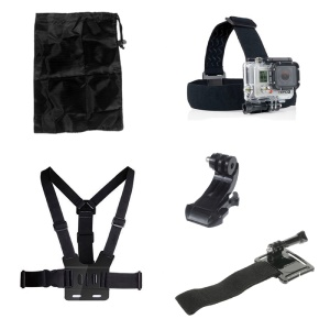 5 in 1 Accessories Kit with Chest Belt, Headstrap, J-Hook Buckle Mount for GoPro Hero 4/3+/3/2/1 SJ4000/5000/6000/Xiaomi Yi
