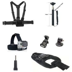7 in 1 Accessories Kit with Chest Belt, Extendable Self-timer Monopod for GoPro Hero 4/3+/3/2/1 SJ4000/5000/6000/Xiaomi Yi