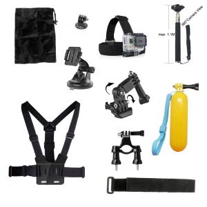 10 in 1 Accessories Kit with Chest Belt, Extendable Self-timer Monopod for GoPro Hero 4/3+/3/2/1 SJ4000/5000/6000/Xiaomi Yi