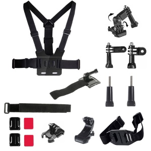 15 in 1 Accessories Kit with Chest Belt, J-Hook Buckle Mount for GoPro Hero 4/3+/3/2/1 SJ4000/5000/6000/Xiaomi Yi