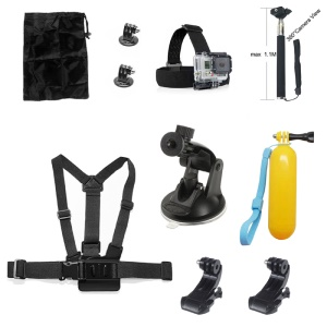 10 in 1 Accessories Kit with Floating Hand Grip, Chest Belt for GoPro Hero 4/3+/3/2/1 SJ4000/5000/6000/Xiaomi Yi