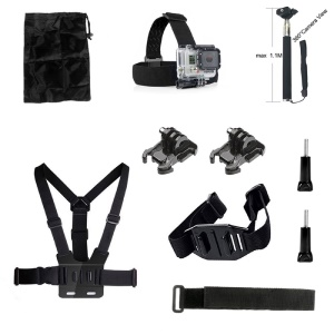 10 in 1 Accessories Kit with Chest Belt, Headstrap for GoPro Hero 4/3+/3/2/1 SJ4000/5000/6000/Xiaomi Yi