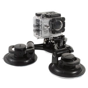 AT568 9cm 3 Suction Cups Mount for GoPro Xiaoyi Camera with 1/4 inch Screw Interface