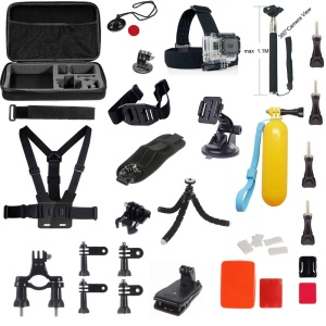 39 in 1 Accessories Kit with Chest Belt, Headstrap for GoPro Hero 4/3+/3/2/1 SJ4000/5000/6000/Xiaomi Yi
