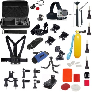 AT587 Basic GoPro Accessories Combo Kit with Headband, Chest Strap and Sefie Stick for GoPro Hero 4/3/3+/2/2/1/Xiaomi Yi