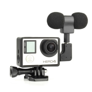 AT555 Housing Frame + Microphone + Adapters Kit for GoPro Hero 3/3+/4