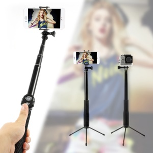 Selfie Stick with Bluetooth Remote & Tripod for iPhone 6s/6s Plus Cellphone GoPro Camera - Black