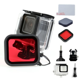 For GoPro Hero 5 Waterproof Housing + Red Filter Lens + Camera Lens Cover + Tempered Glass Screen Film