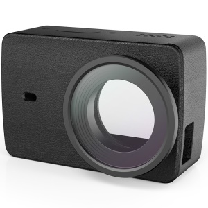 OEM PU Leather Cover Skin with UV Protective Lens for Xiaoyi II 4K Action Camera - Black