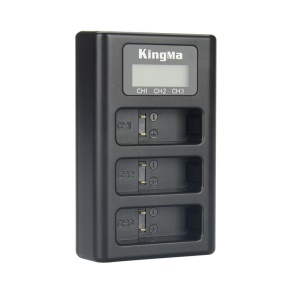 KINGMA Triple Battery Charger with LCD Digital Display for GoPro Hero5 (AHDBT-501) - Black