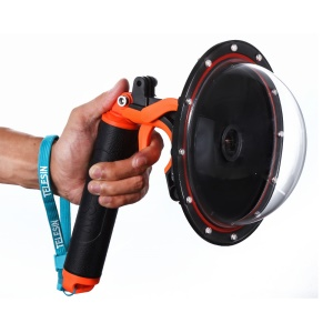 TELESIN GP-T03 GoPro Dome Port with Pistol Trigger Gadget and Hand Grip for GoPro Hero3+/4 - Orange