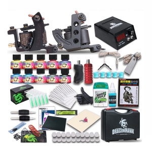 Professional Complete Tattoo Kit with 2 Top Machines 10-Color Inks 30 Needles Etc