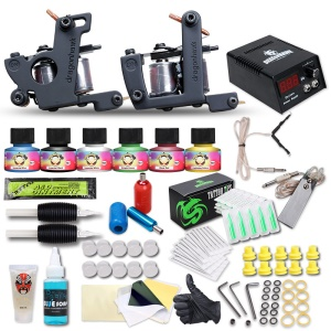 Tattoo Starter Kit Professional 2 Machine Gun 6 Colors Ink Complete Tattoo Set