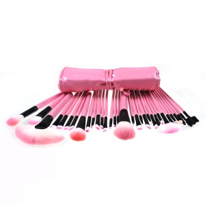 32PCS Professional Pink Makeup Brushes Cosmetic Set Wood Handle with Case