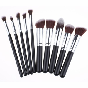 10-teiliges Make-up Pinsel Set Foundation Blending Augen Gesicht Pinsel - Silberfarbe / Schwarz