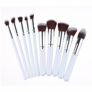 10-Piece Makeup Brushes Foundation Blending Blush Eye Face Brush - Silver Color / White