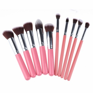 10-Piece Professional Women Beauty Makeup Brushes Cosmetic Brush - Silver Color / Pink