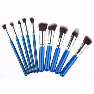 10-Piece Professional Makeup Brush Set Foundation Blending Blush Brushes - Silver / Blue