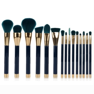 15Pcs/Set Professional Cosmetic Brush Set Make-up Soft Tool Kit - Green / Blue