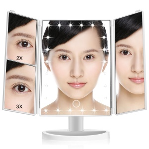 CORALOV Rotary Dimmable 24-LED Makeup Mirror With 2X/3X Magnifier